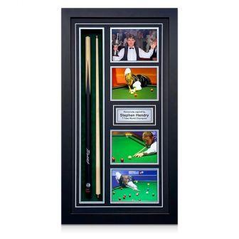 Stephen Hendry Signed Snooker Cue. Framed