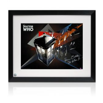 Tom Baker Dr Who Signed Tardis Poster. Framed