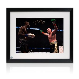 Tyson Fury Signed Photo: Fighting Deontay Wilder Framed
