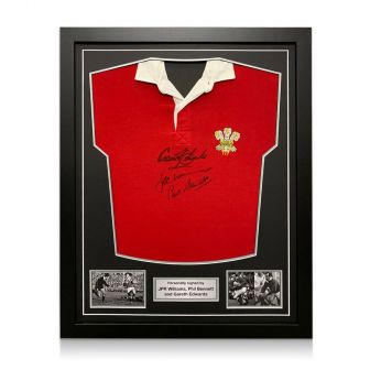 Wales Rugby Shirt Signed By Gareth Edwards, JPR Williams And Phil Bennett. Standard Frame