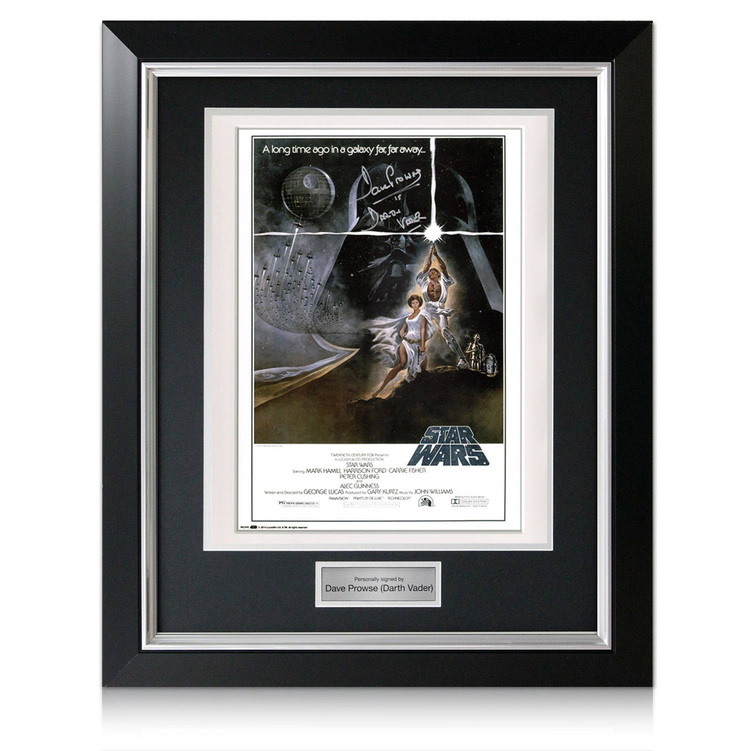 darth vader signed framed star wars poster autographed