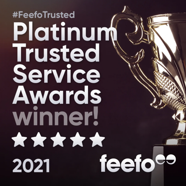 We won the Feefo Platinum Trusted Service Award 2021!